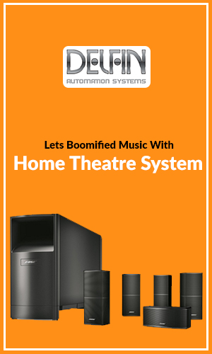 Home Music Speaker System, Loudspeakers, Surround System Isolated in Orange Background.