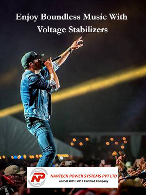 Image Shows The Concept Of Enjoy Boundless Music With Voltage Stabilizers - A Stage performer Singing Rock to the Crowd of People.