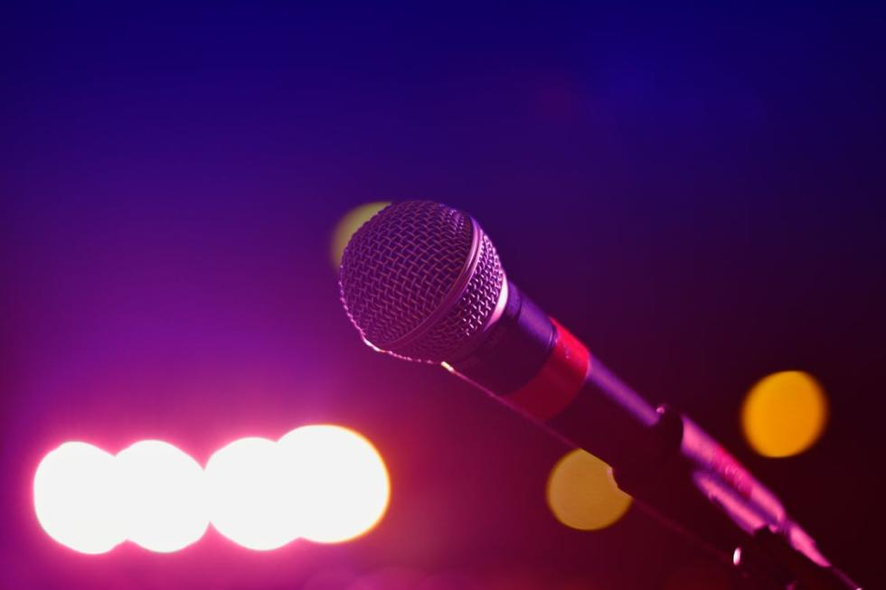 A Close-up view of a microphone.