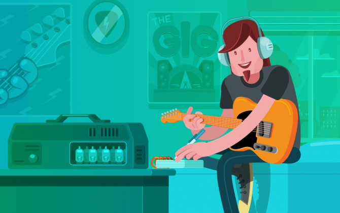An animated image of guitarist listening music and taking musical notes.
