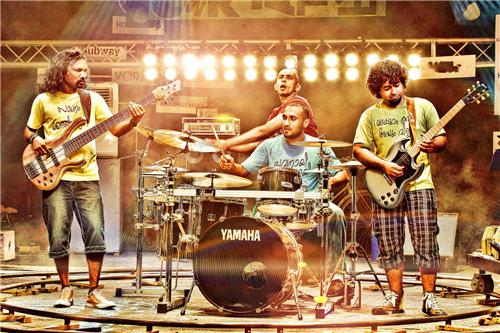 An Image of Indian Rock Band's live performance on stage.