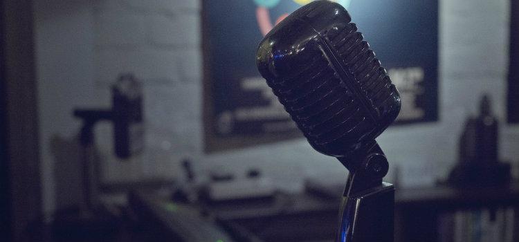 A Close-up dark view of a microphone.