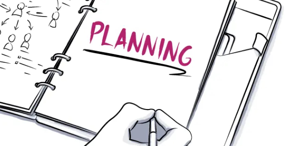 Vector Image That Showing A Human Hand Written The Text Planning In An White Background.