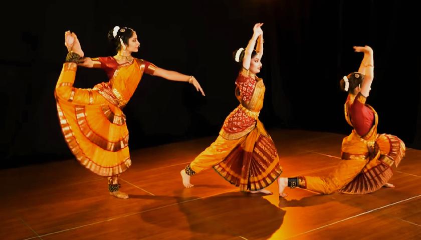 An image of a girl with Bharatanatyam pose